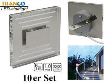 10 x Treppenbeleuchtung Wandstrahler warmweiss Trango TGSL-013