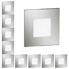 ledscom.de LED Treppen-Licht Treppenbeleuchtung eckig SET 10 STK.